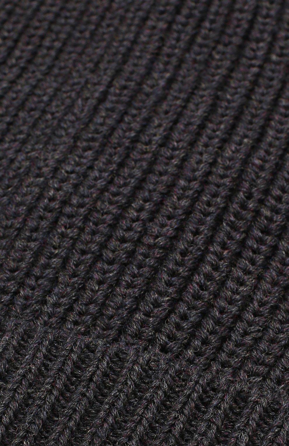 Шерстяная шапка фактурной вязки Dolce & Gabbana темно-серого цвета | Фото №3
