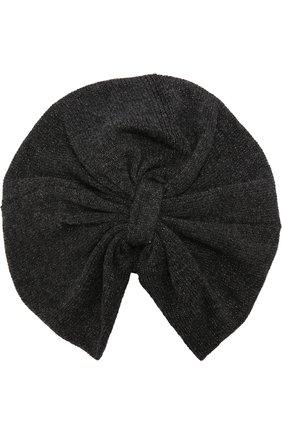 Тюрбан с отделкой металлизированной нитью Inverni темно-серого цвета   Фото №1