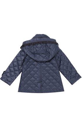 Детского укороченное стеганое пальто с оборками и капюшоном GUCCI синего цвета, арт. 434272/XB030 | Фото 2