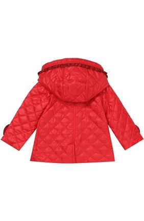 Детского укороченное стеганое пальто с оборками и капюшоном GUCCI красного цвета, арт. 434272/XB030 | Фото 2