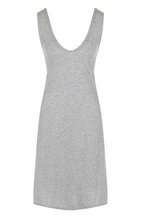 Хлопковая сорочка своодного кроя Skin серая | Фото №1