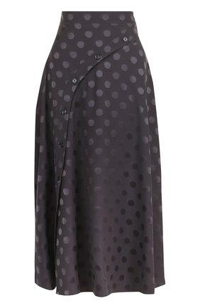 Шелковая юбка-миди с отделкой | Фото №1