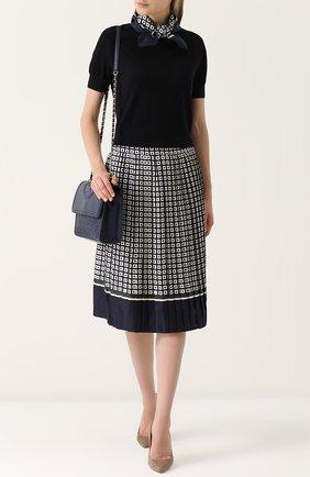 Шелковая плиссированная юбка-миди Tory Burch темно-синяя | Фото №1