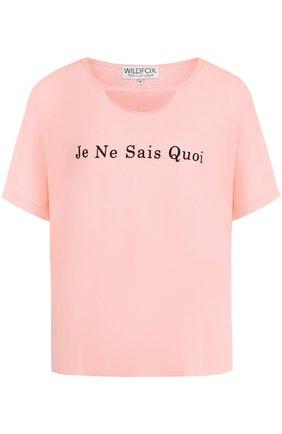 Хлопковая футболка свободного кроя Wildfox розовая   Фото №1