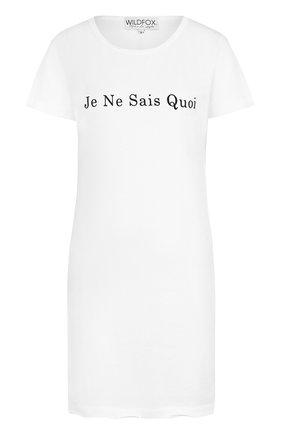 Удлиненная приталенная футболка с надписью Wildfox белая   Фото №1