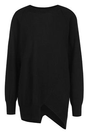 Шерстяной пуловер свободного кроя с круглым вырезом | Фото №1