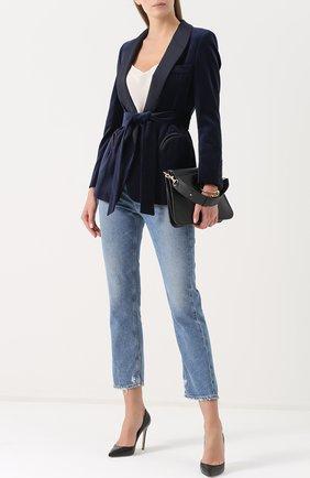 Бархатный жакет с шелковыми лацканами и поясом Blaze Milano синий   Фото №1
