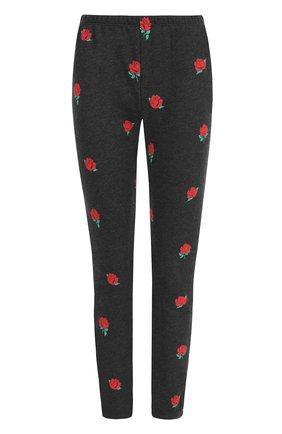 Укороченные хлопковые брюки с принтом Wildfox черные   Фото №1