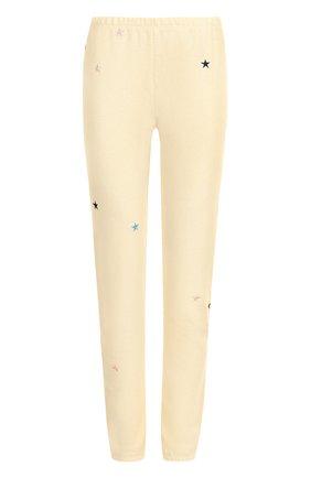 Укороченные хлопковые брюки с вышивкой Wildfox бежевые   Фото №1