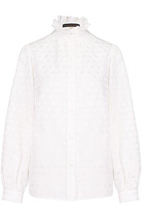 Блуза из смеси хлопка и шелка с оборкой | Фото №1