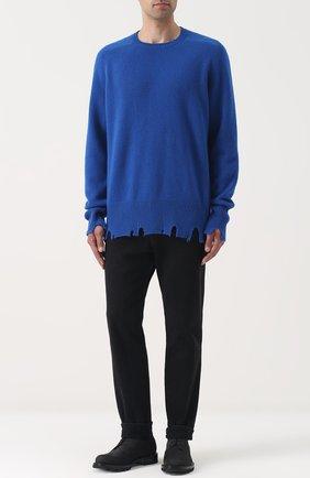 Свитер из смеси шерсти и кашемира свободного кроя Riccardo Comi синий | Фото №1
