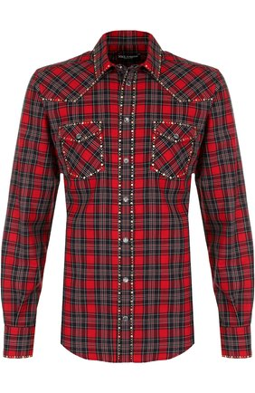 Хлопковая рубашка с принтом и заклепками Dolce & Gabbana красная | Фото №1