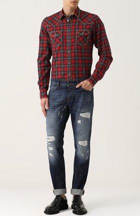 Хлопковая рубашка с принтом и заклепками Dolce & Gabbana красная | Фото №2