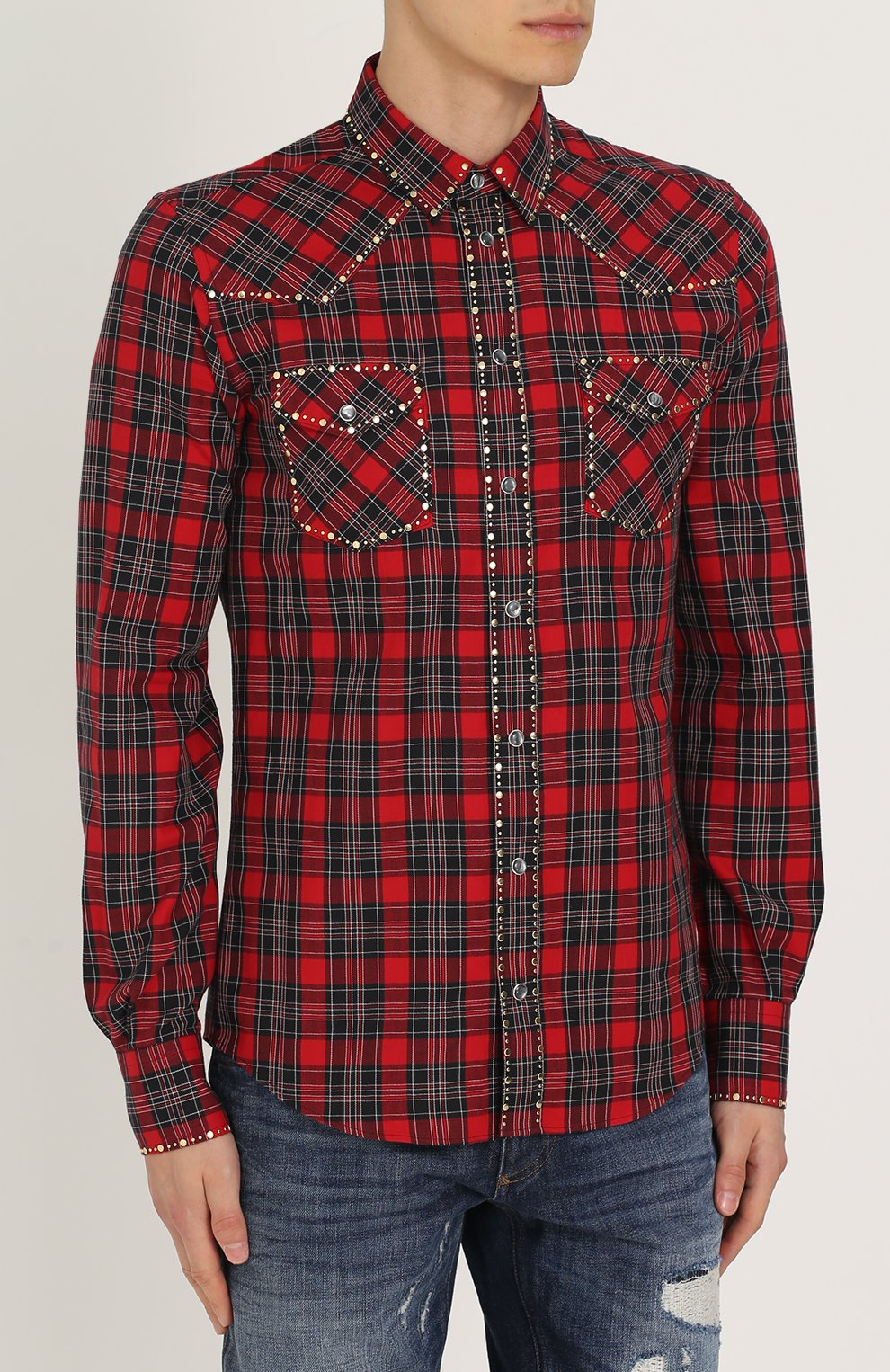 Хлопковая рубашка с принтом и заклепками Dolce & Gabbana красная | Фото №3