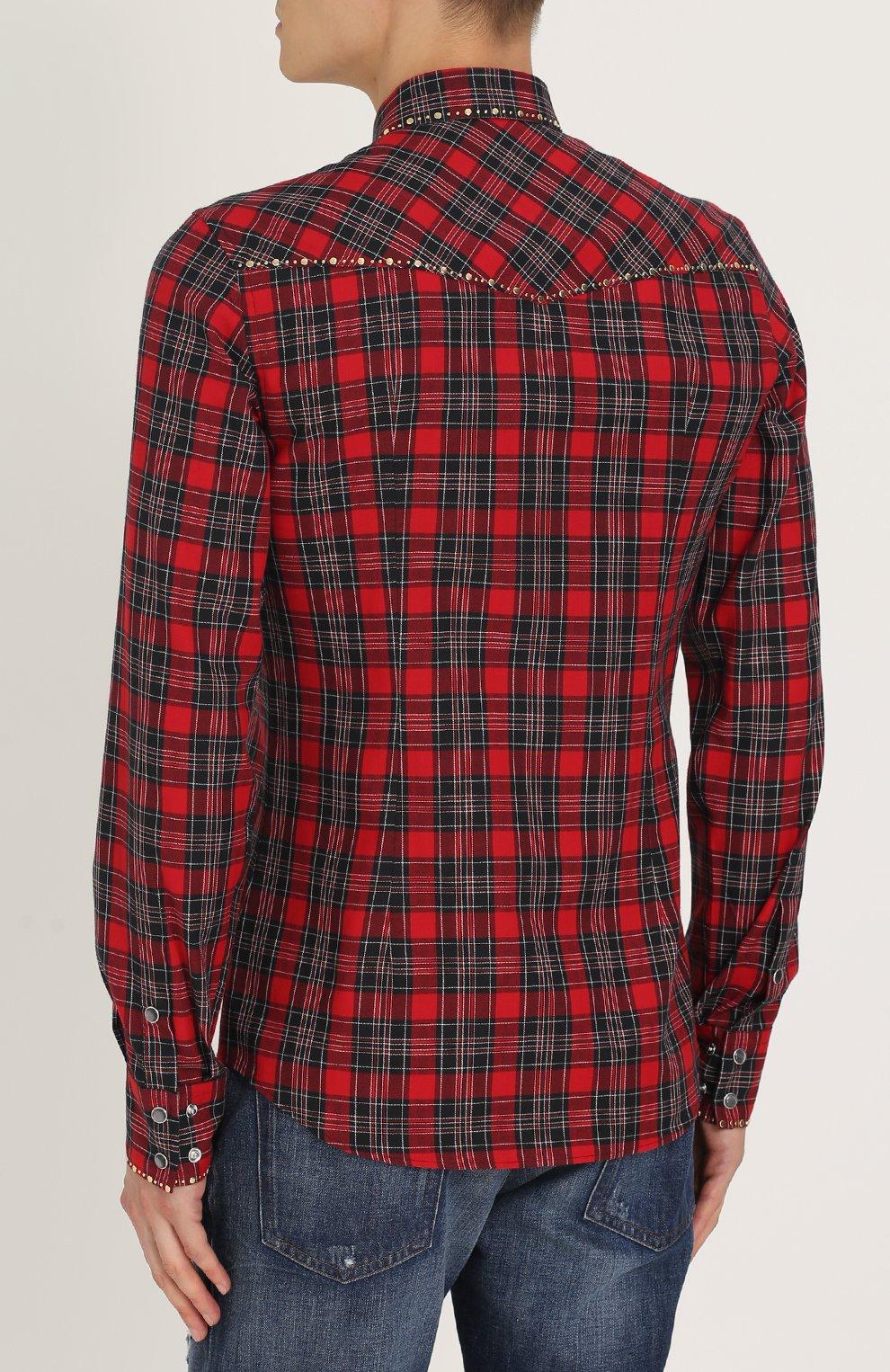 Хлопковая рубашка с принтом и заклепками Dolce & Gabbana красная | Фото №4