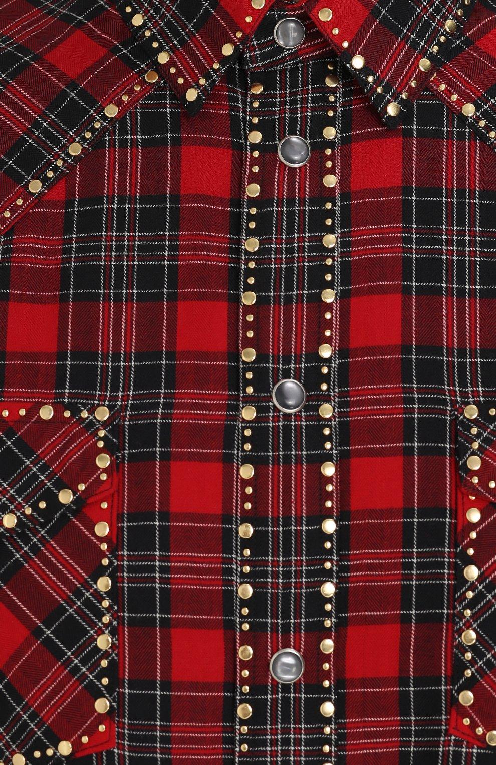 Хлопковая рубашка с принтом и заклепками Dolce & Gabbana красная | Фото №5