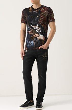 Хлопковая футболка с принтом Dolce & Gabbana бордовая | Фото №2