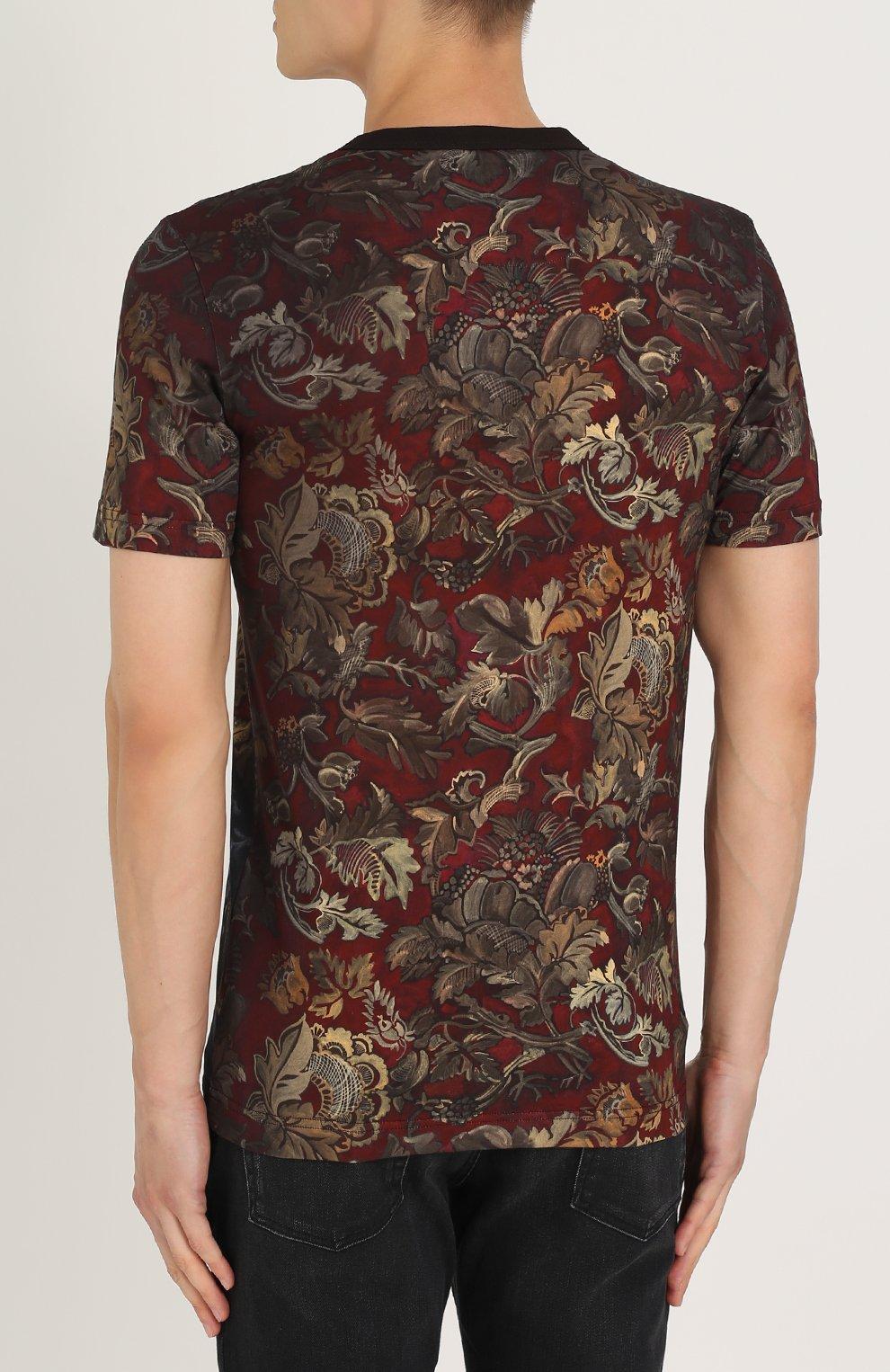 Хлопковая футболка с принтом Dolce & Gabbana бордовая | Фото №4