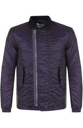Утепленная куртка с косой молнией Oamc темно-фиолетовая | Фото №1