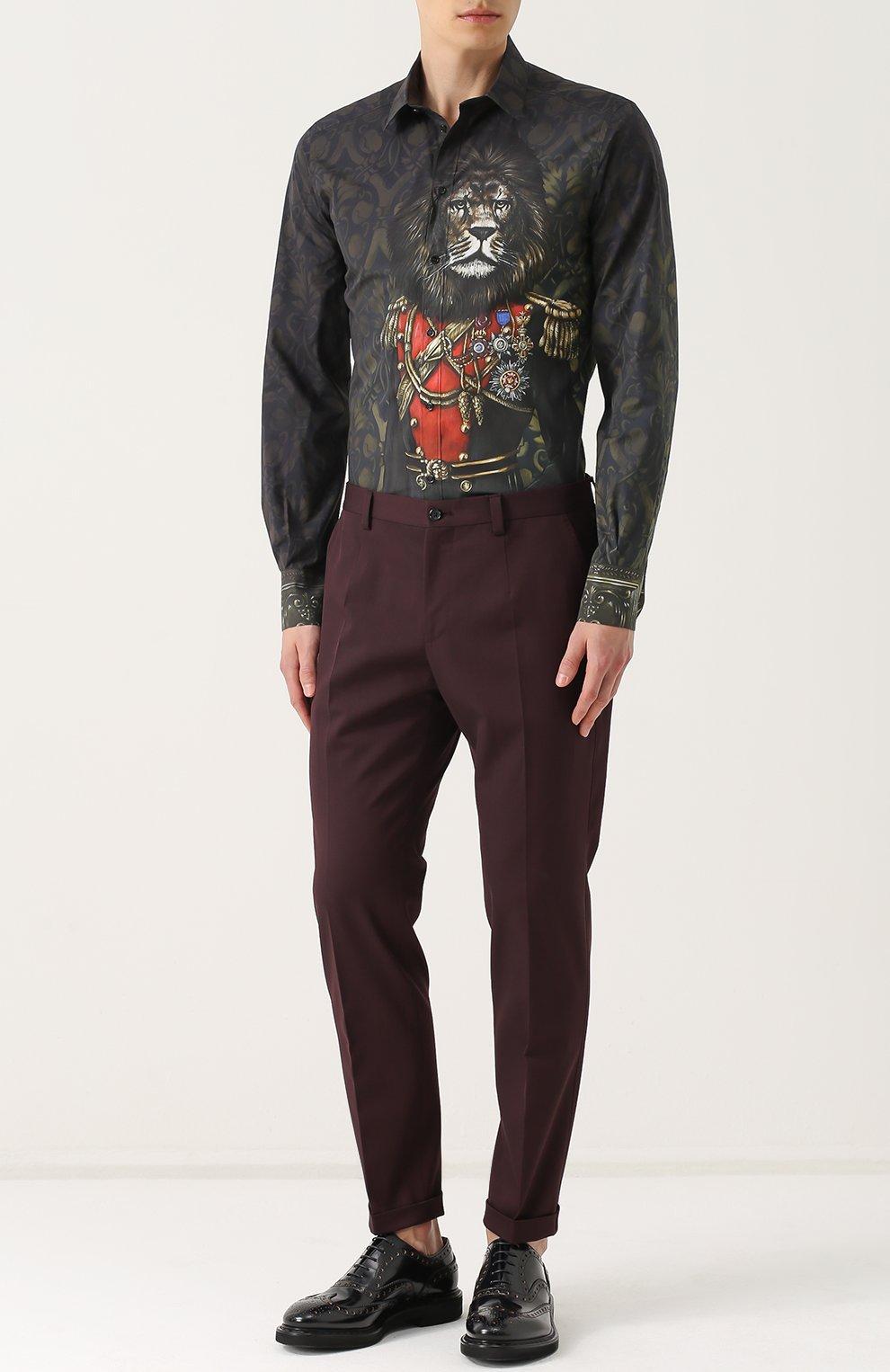 Хлопковая рубашка с принтом Dolce & Gabbana зеленая | Фото №2