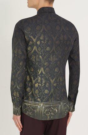 Хлопковая рубашка с принтом Dolce & Gabbana зеленая | Фото №4
