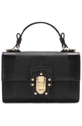 Сумка Lucia с тиснением Dolce & Gabbana черная цвета | Фото №1
