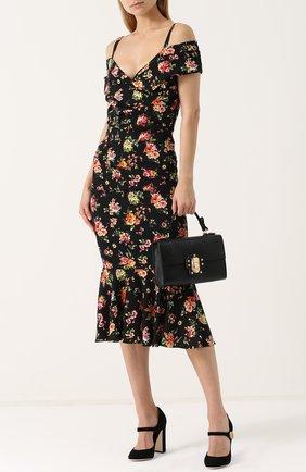 Сумка Lucia с тиснением Dolce & Gabbana черная цвета | Фото №2