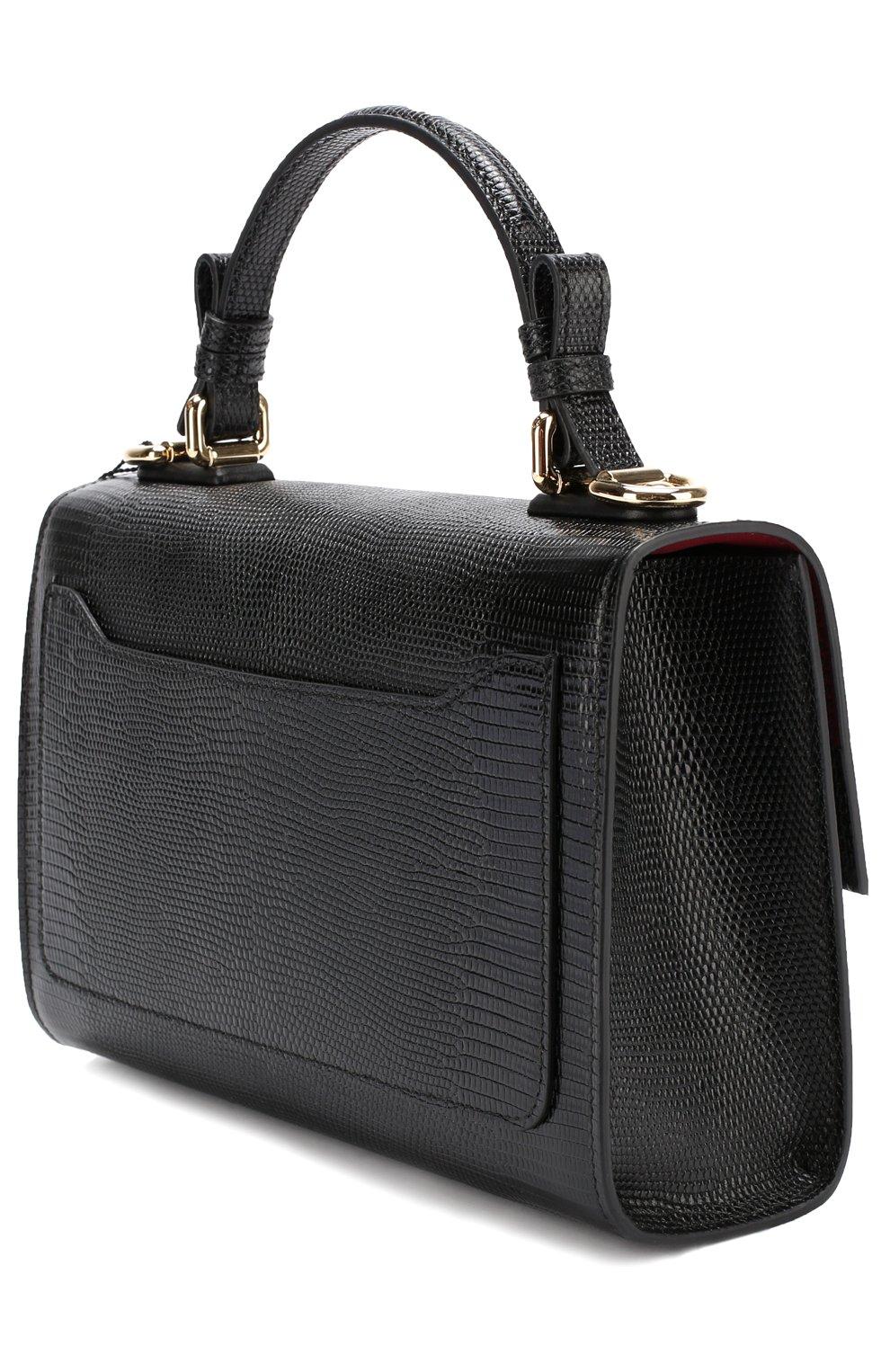 Сумка Lucia с тиснением Dolce & Gabbana черная цвета | Фото №3
