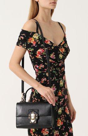 Сумка Lucia с тиснением Dolce & Gabbana черная цвета | Фото №5