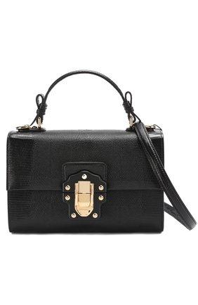 Сумка Lucia с тиснением Dolce & Gabbana черная цвета | Фото №6