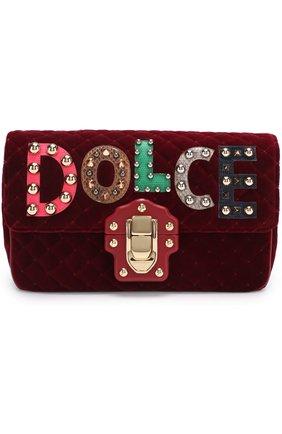 Сумка Lucia с аппликациями Dolce & Gabbana бордовая цвета   Фото №1
