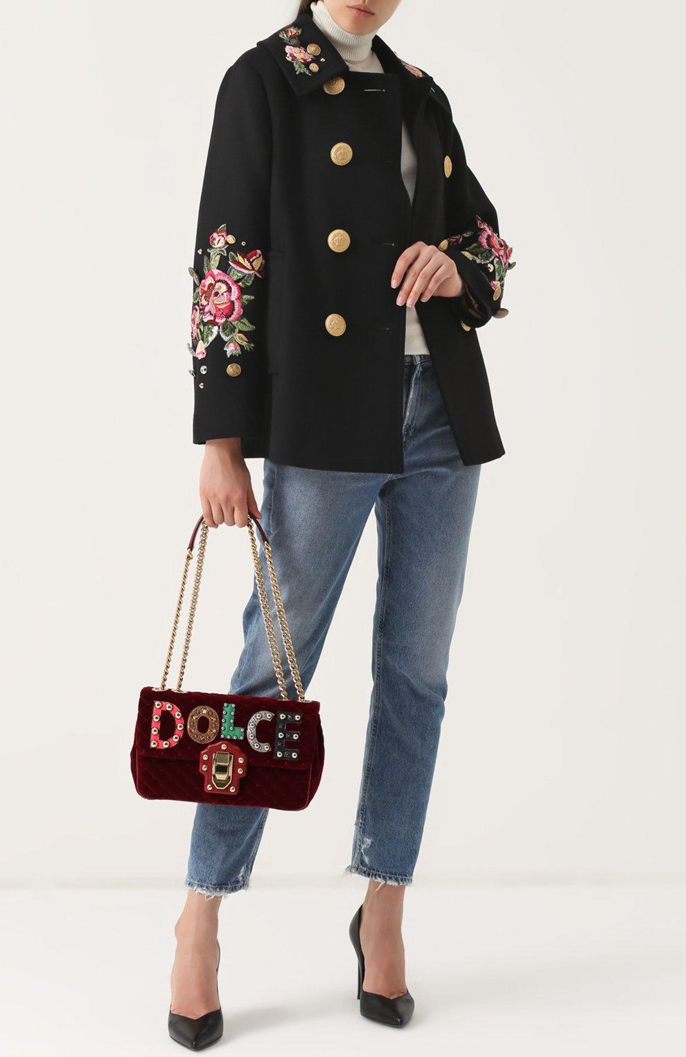 Сумка Lucia с аппликациями Dolce & Gabbana бордовая цвета   Фото №2