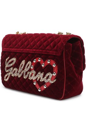 Сумка Lucia с аппликациями Dolce & Gabbana бордовая цвета   Фото №3