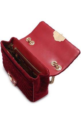 Сумка Lucia с аппликациями Dolce & Gabbana бордовая цвета   Фото №4