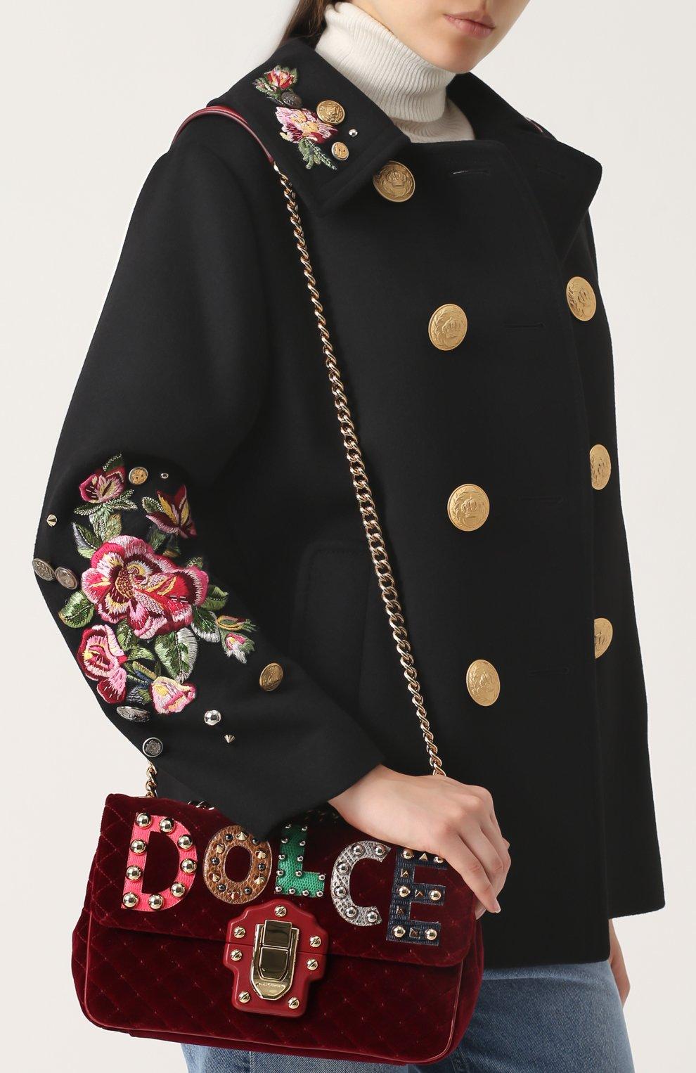 Сумка Lucia с аппликациями Dolce & Gabbana бордовая цвета   Фото №5