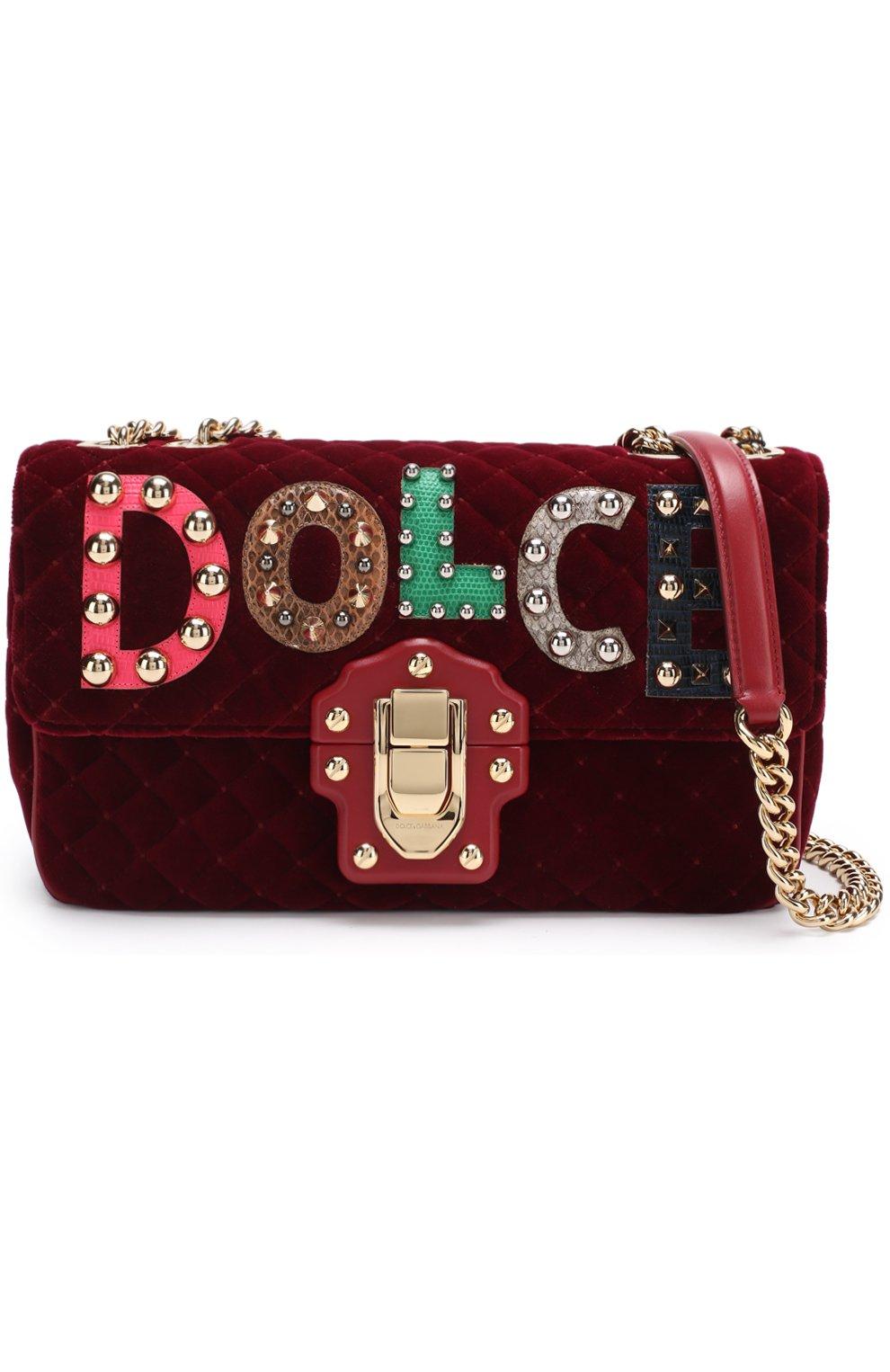 Сумка Lucia с аппликациями Dolce & Gabbana бордовая цвета   Фото №6