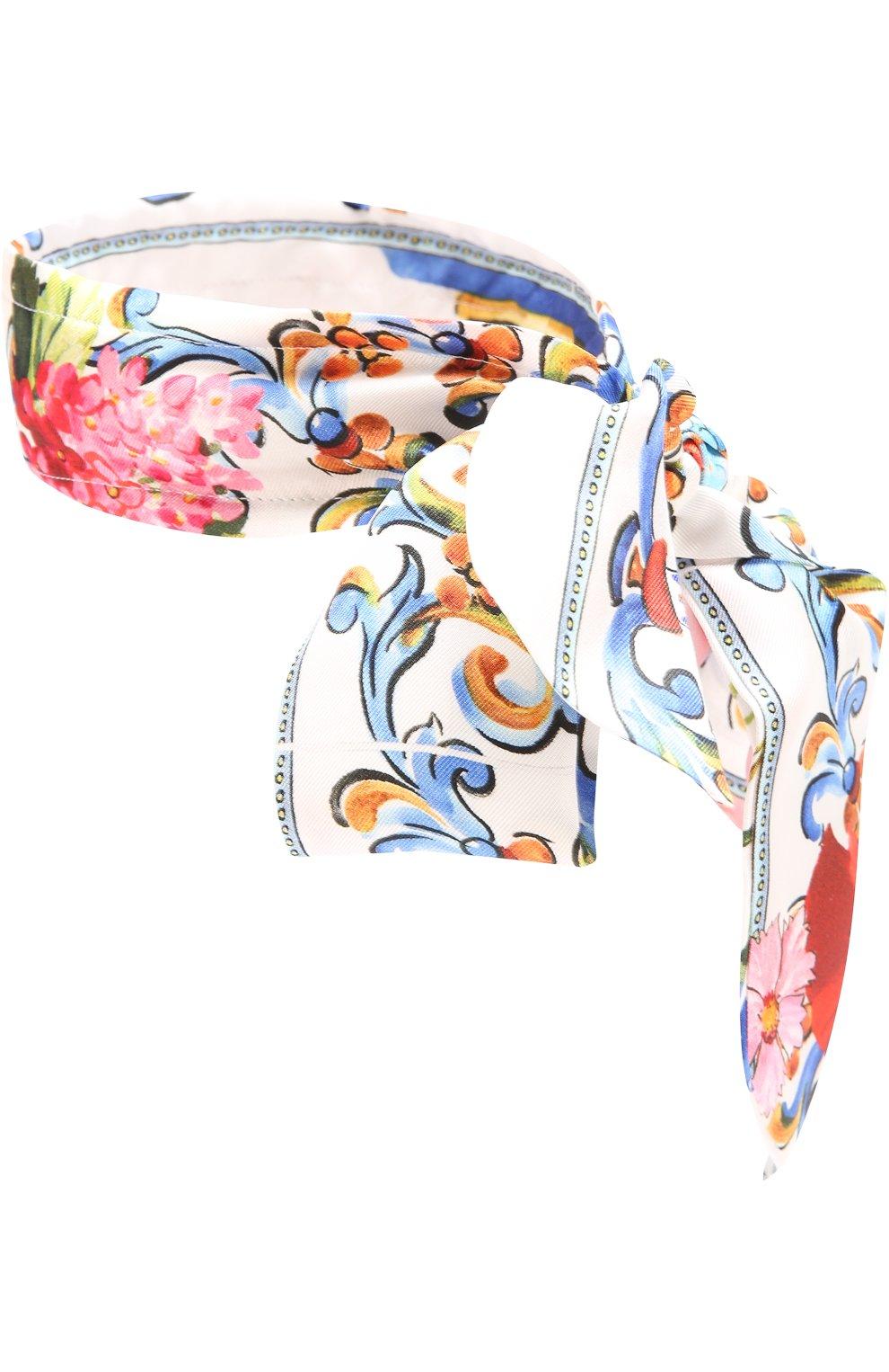 Шелковая повязка на голову с принтом Dolce & Gabbana разноцветного цвета | Фото №2