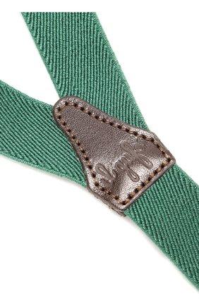 Детские подтяжки с отделкой из натуральной кожи IL GUFO зеленого цвета, арт. A17H0046EA100   Фото 2 (Материал: Текстиль, Синтетический материал; Статус проверки: Проверено)