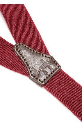 Детские подтяжки с отделкой из натуральной кожи IL GUFO бордового цвета, арт. A17H0046EA100   Фото 2 (Статус проверки: Проверено; Материал: Текстиль)