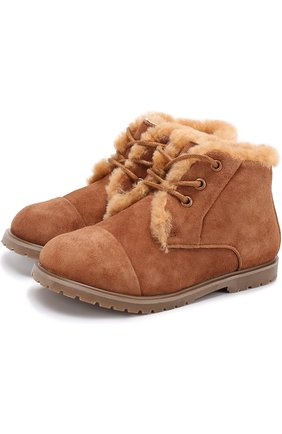 Замшевые ботинки с меховой отделкой   Фото №1