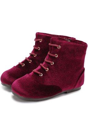 Текстильные ботинки на шнуровке с молнией   Фото №1