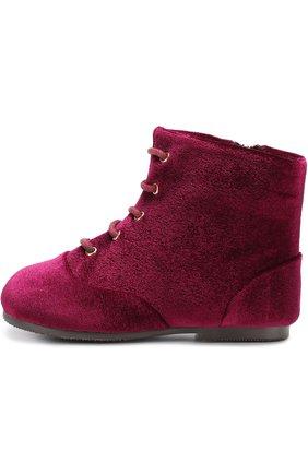 Детские текстильные ботинки на шнуровке с молнией Age of Innocence фиолетового цвета   Фото №1