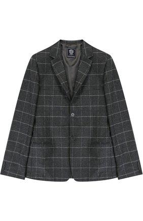 Однобортный пиджак из шерсти в клетку | Фото №1