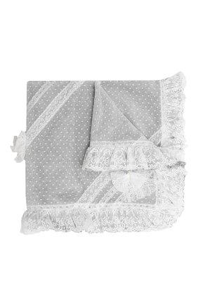 Хлопковое одеяло с кружевной отделкой и бантами | Фото №1