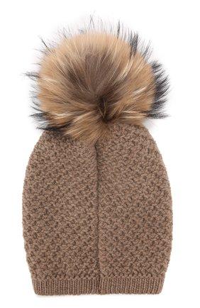 Вязаная шапка из смеси шерсти и кашемира с меховым помпоном Inverni темно-бежевого цвета   Фото №1