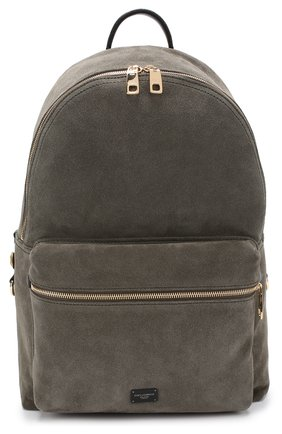 Замшевый рюкзак с внешним карманом на молнии Dolce & Gabbana хаки | Фото №1