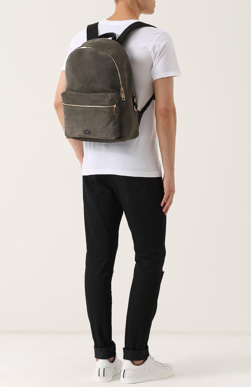 Замшевый рюкзак с внешним карманом на молнии Dolce & Gabbana хаки | Фото №2