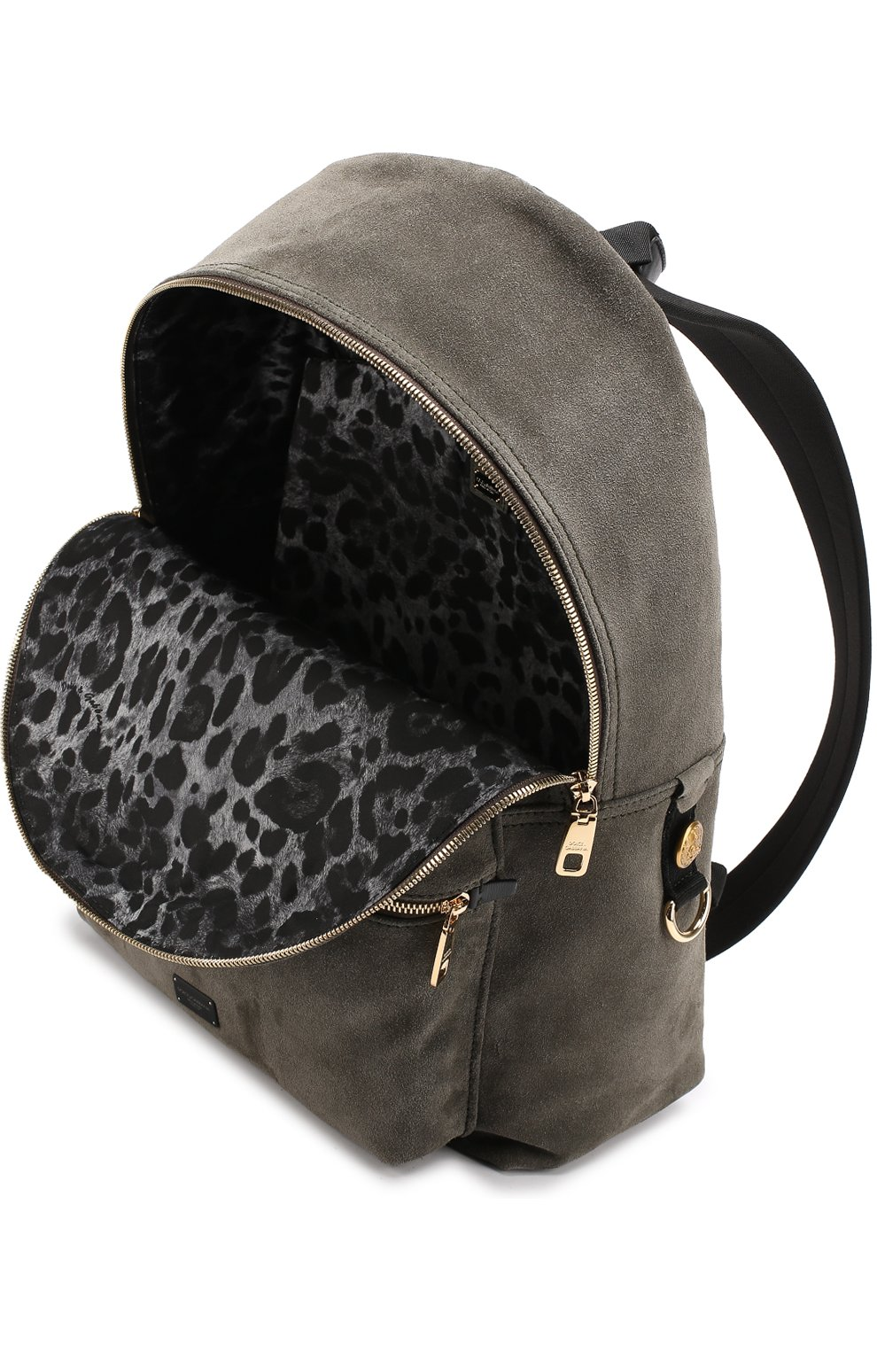 Замшевый рюкзак с внешним карманом на молнии Dolce & Gabbana хаки | Фото №4