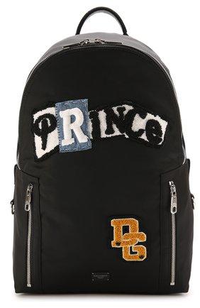 Текстильный рюкзак с нашивками и внешним карманом на молнии Dolce & Gabbana черный | Фото №1