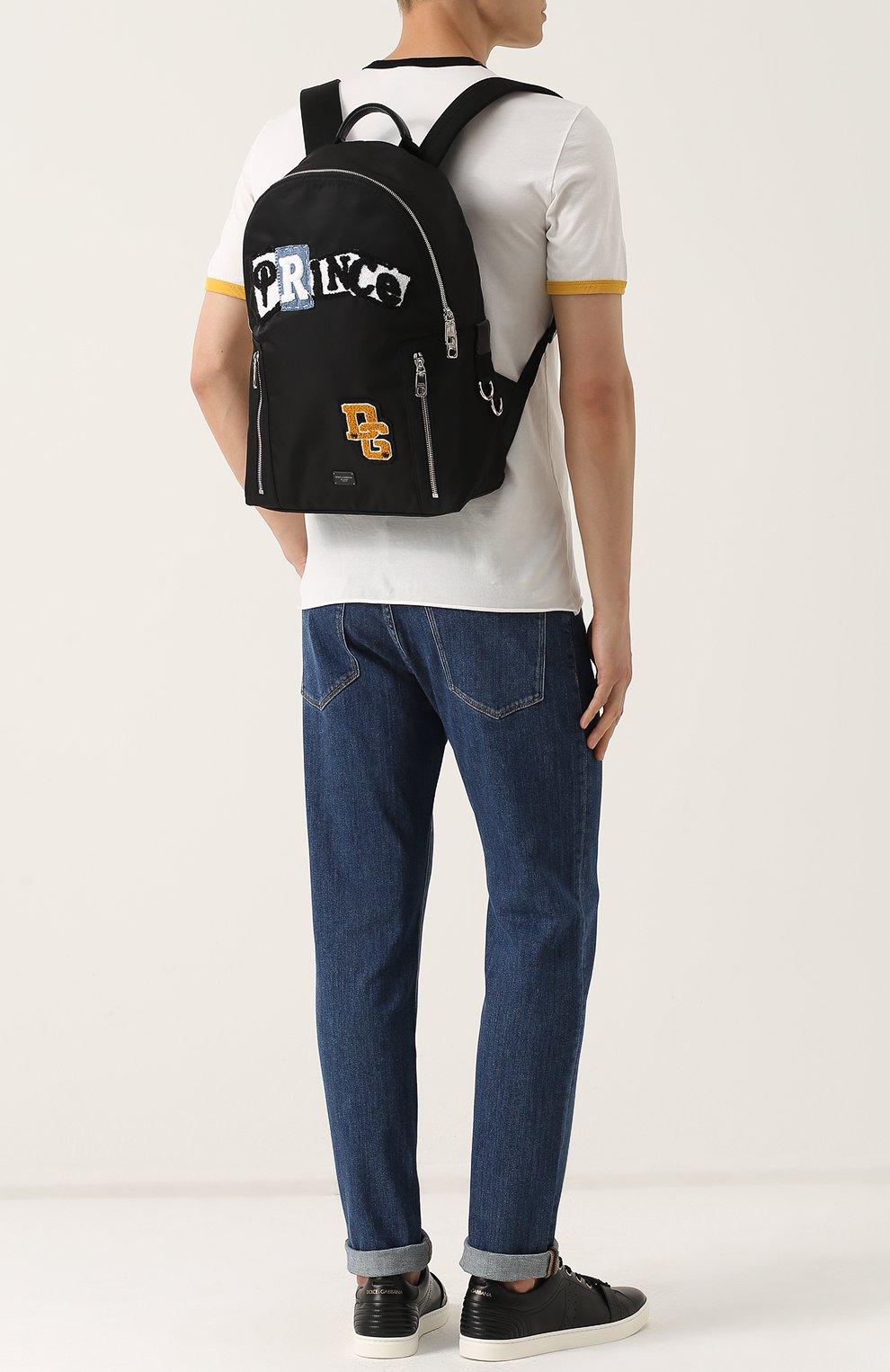 Текстильный рюкзак с нашивками и внешним карманом на молнии Dolce & Gabbana черный | Фото №2